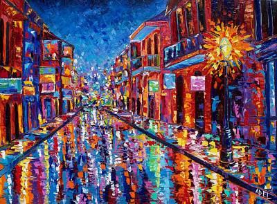 Bourbon Street Painting - A Cool Night On Bourbon Street by Elaine Adel Cummins