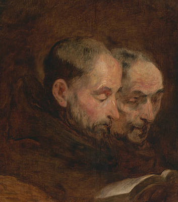 18th Century Painting - A Copy After A Painting Traditionally Attributed To Van Dyck Of Two Monks Read by Thomas Gainsborough