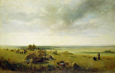 Meadow Scene Painting - A Corn Field by Peter de Wint