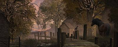 Ladnscape Digital Art - A Country Farm Scene With Blue Jay Watching A Crab On An Old Pier Along With Horse by Peter Nowell