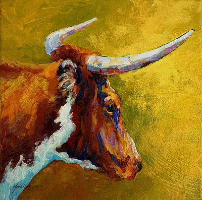 Texas Painting - A Couple Of Pointers - Longhorn Steer by Marion Rose