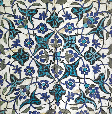 Tile Painting - A Damascus Pottery Tile by Celestial Images