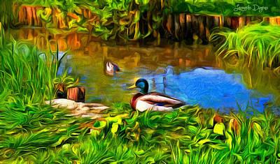 A Day At Lake - Da Print by Leonardo Digenio