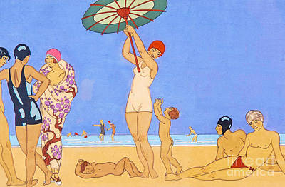 Nude Children Drawing - A Day At The Beach, 1923 by Georges Barbier