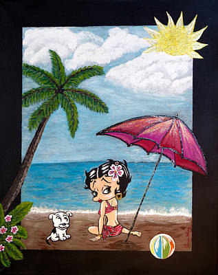 A Day At The Beach Print by Teresa Wing
