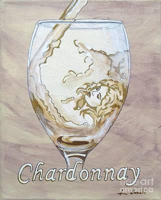 A Day Without Wine - Chardonnay Print by Jennifer  Donald