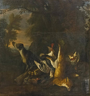 Painting - A Dead Fox And Goose At The Foot Of A Tree With A Hound In A Landscape by Attributed to Peter Caulitz