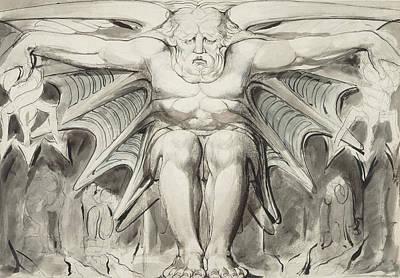 William Blake Drawing - A Destroying Deity by William Blake
