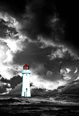 Summer Thunderstorm Painting - A Digital Painting Of A Lighthouse With Approaching Dramatic Sto by Ken Biggs