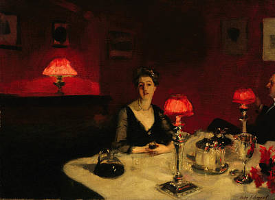Man And Woman Painting - A Dinner Table At Night by John Singer Sargent