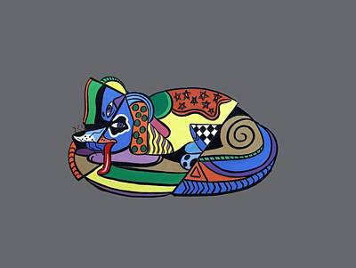 Dog Artist Digital Art - A Dog Named Picasso T-shirt by Anthony Falbo