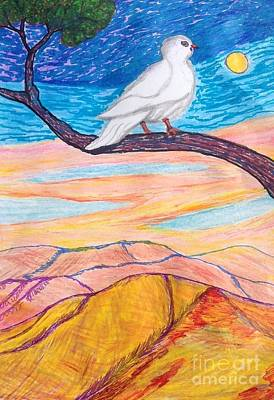 Early Spring Drawing - A Doves Story  by Ishy Christine Degyansky