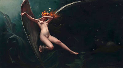Luis Ricardo Falero Painting - A Fairy Under Starry Skies by Luis Ricardo Falero