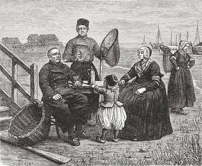 Flevoland Drawing - A Family From Urk, Flevoland, The by Vintage Design Pics