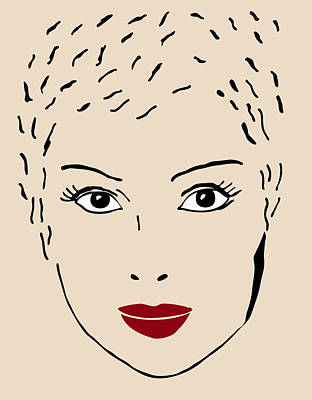 Faces Drawing - A Fashion Model by Frank Tschakert