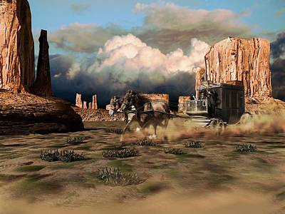 Ladnscape Digital Art - A Fast Stagecoach Pulled By Two Horses, Crosses The Desert Of Monument Valley by Peter Nowell