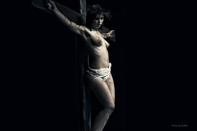 Female Christ Photograph - A Female Crucifix by Ramon Martinez