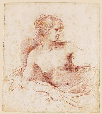 Drawing - A Female Nude Looking To The Right Half Length Resting Her Right Arm On A Cushion by Guercino