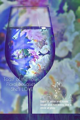 Glass Of Wine Mixed Media - A Fine Wine Bouquet  by ARTography by Pamela Smale Williams