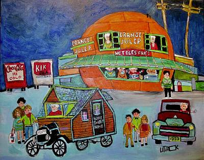 Painting - A First Visitor At The Orange Julep by Michael Litvack