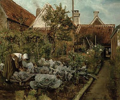 Cabbage Painting - A Flemish Garden by Henri de Braekeleer