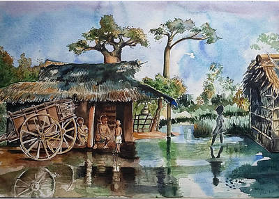 A Flooded Village Scene From Africa Print by Usha Mishra