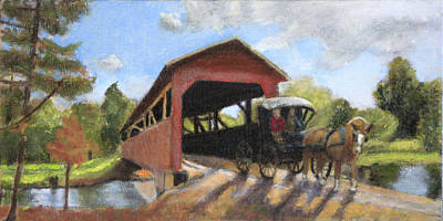 Covered Bridge Painting - A Fondness For Driving by David Zimmerman