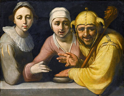 Cornelis Van Haarlem Painting - A Fool With Two Women by Cornelis Cornelisz van Haarlem