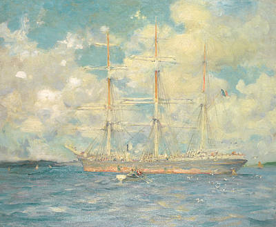 A French Barque In Falmouth Bay Print by Henry Scott Tuke
