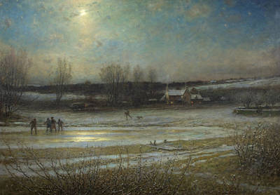 Skating Painting - A Frosty Night   The Frozen Mill Pond by George Henry Boughton