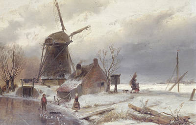 A Frozen River Landscape With A Windmill Print by Andreas Schelfhout