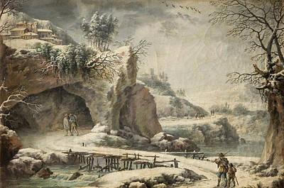 Painting - A Frozen River Landscape With Figures by Francesco Foschi