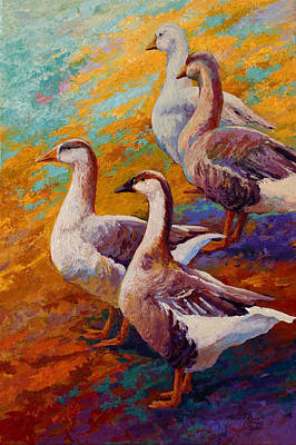 A Gaggle Of Four - Geese Print by Marion Rose