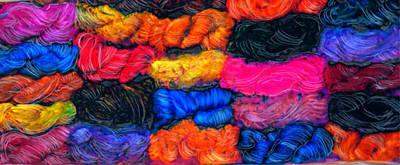 Fiber Art Painting - A Garden Of Yarn by FeatherStone Studio Julie A Miller
