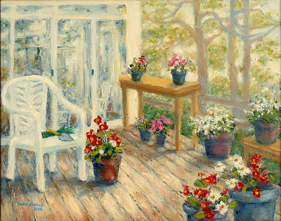 Garden Scene Painting - A Gardener's Deck by Nancy Heindl