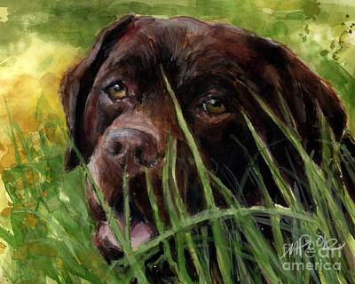 Chocolate Labrador Painting - A Gardener's Friend by Molly Poole