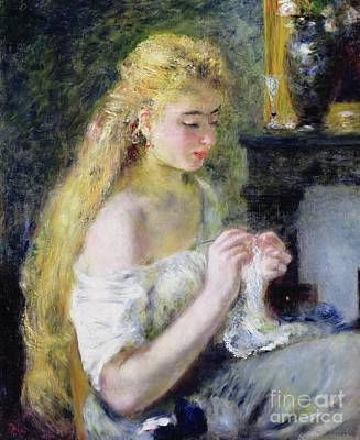 A Girl Crocheting Print by Pierre Auguste Renoir