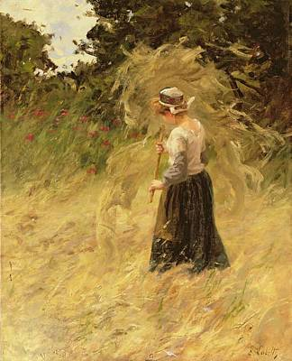 Stacked Painting - A Girl Harvesting Hay by Eugene Leon Labitte