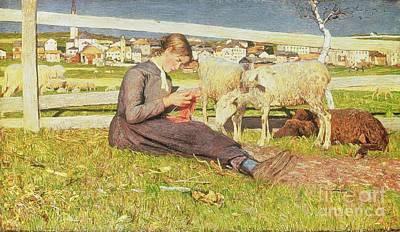 A Girl Knitting Print by Giovanni Segantini