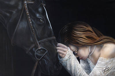 Painting - A Girl Who Loves Horses by Wayne Pruse