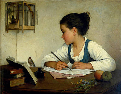 A Girl Writing. The Pet Goldfinch Print by Henriette Browne