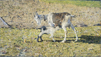 Painting - A Goat With Her Kid by Giovanni Segantini