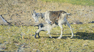 Animal Symbolism Painting - A Goat With Her Young by Giovanni Segantini