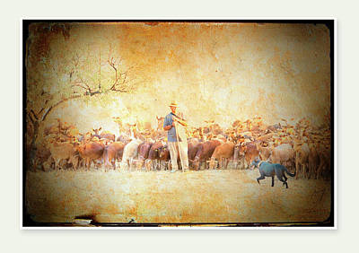 A Goatherd Muses Print by Mal Bray