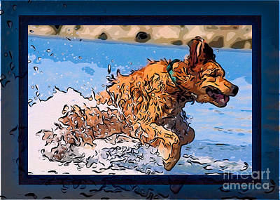 A Golden Retriever Splashing Abstract Dog Art Print by Omaste Witkowski