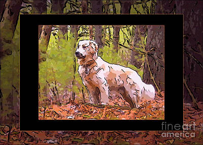 A Golden Retriever Standing Proud Abstract Dog Art Print by Omaste Witkowski