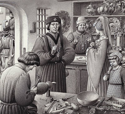 A Goldsmith's Shop In 15th Century Italy Print by Pat Nicolle