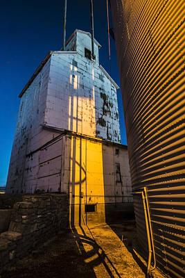 a grain elevator at dawn in Central Illinois  Print by Sven Brogren