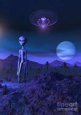 A Grey Alien Located On Its Homeworld Print by Mark Stevenson