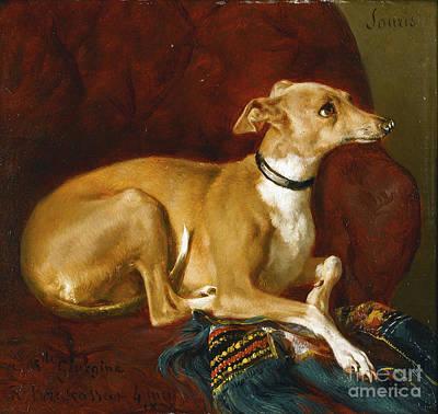 Raymond Painting - A Greyhound Resting  by Jacques Raymond Brascassat